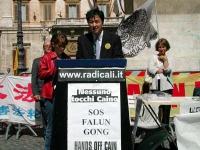 Erping Zhang, portavoce del Falun Gong durante una conferenza stampa a Montecitorio, in occasione della marcia contro la persecuzione in Cina degli ad