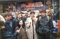 Prima apparizione pubblica dopo il rilascio, a piazza del Popolo, dei cinque esponenti radicali detenuti per diversi giorni nel Laos, in seguito a una