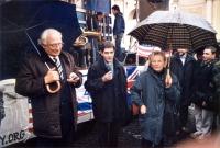 Marco Pannella, Daniele Capezzone, Emma Bonino, a piazza del Popolo, in occasione dell'apparizione pubblica dei cinque esponenti radicali arrestati in