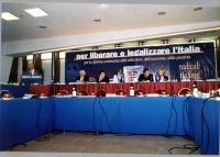 Comitato dei Radicali Italiani all'hotel Ergife. Alla tribuna: Piero Milio.  Al tavolo di presidenza, da sinistra: Marco Pannella, Daniele Capezzone,