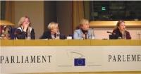 Conferenza stampa  sul satyagraha mondiale promosso dai radicali. Da sinistra: Mme Anne Marie LIZIN, Sénateur, ancien Ministre, Mme Emma BONINO, Déput