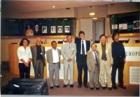 Conferenza stampa del Forum Asie Democratie. Da sinistra: Vanida Thepsouvanh (Laos), Aung Ko (Birmania), Niet (Vietnam), Erkin Alptekin, Olivier Dupui
