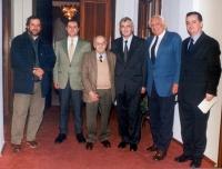 Arthur Zhei (o: Zheji), Sergio Rovasio, Sergio Stanzani, Rexhep Mejdan (presidente dell'Albania), Marco Pannella, il consigliere del presidente (in oc