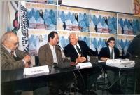 Conferenza stampa di presentazione del primo satyagraha mondiale, per la presenza di donne nel governo afghano. Da sinistra: Sergio Stanzani, il princ