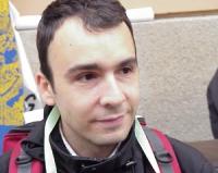 Marco Eramo (in occasione della manifestazione contro la guerra in Cecenia).