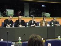 Incontro sulla Cecenia, al Parlamento Europeo. Nella foto, da sinistra:  Roman Khalilov, rappresentante ceceno a Bruxelles; Umar Khanbiev, ministro ce