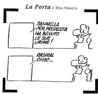 """La vignetta di Dino Manetta (apparsa su """"L'Unità"""") si riferisce allo sciopero della sete di Marco Pannella perchè sia ricostituito il plenum della Cor"""