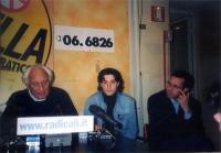 Conferenza stampa alla sede di Torre Argentina, con Marco Pannella, Matteo Angioli e Benedetto Della Vedova.