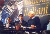 Rita Bernardini, Daniele Capezzone, Marco Pannella, nel corso di una conferenza stampa presso la sede di Torre Argentina.