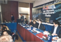 Comitato nazionale dei Radicali Italiani all'hotel Ergife. Alla tribuna: Marco Pannella. Tavolo di presidenza (da sinistra): Michele De Lucia, Sergio