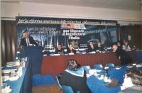 Comitato nazionale dei Radicali Italiani all'hotel Ergife. Alla tribuna, Marco Pannella. Tavolo di presidenza (da sinistra): Marco Beltrandi, Sergio S