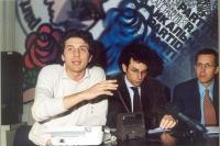Marco Cappato, Yasha Reibman, Benedetto Della Vedova, durante una conferenza stampa alla sede di Torre Argentina.