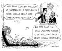 """VIGNETTA Finii: """"Capo, Pannella sta facendo lo sciopero della fame; e mo' pure quello della sete: dobbiamo fare qualcosa!"""". Berlusconi: """"Le cose sono"""