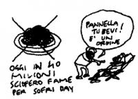 """VIGNETTA """"Oggi in 40 milioni sciopero fame per Sofri day. - Pannella tu bevi! E' un ordine -"""" Vignetta di Vincino, uscita sul quotidiano """"Il Foglio"""","""