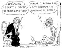 """VIGNETTA Il presidente della Repubblica Ciampi: """"Dai Marco! Se smetti il digiuno ti cedo il mio posto!"""". Pannella: """"Purchè tu prenda il mio. A te sicu"""