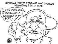 """VIGNETTA """"Pannella pronto a tornare allo sciopero della fame e della sete"""". - Questa volta non riusciranno a darmela a bere... La vignetta, firmata Lo"""
