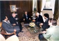 Marco Pannella, Yasha Reibman e Sergio Rovasio incontrano Moshe' Katsav, presidente dello Stato di Israele.