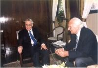 Marco Pannella incontra Moshe' Katsav, presidente dello Stato di Israele.