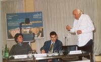 """Convegno: """"Il potere della comunicazione la comunicazione del potere"""", presso l'ex hotel Bologna. Diego Galli, Daniele Capezzone, Marco Pannella."""