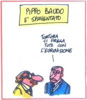 """VIGNETTA Titolo: """"Pippo Baudo è spaventato"""". Baudo: """"Tortora ci frega tutti con l'eurovisione"""". Vignetta di Vincino, per la rivista satirica """"Radicalc"""