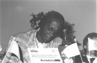 ritratto di Laurent Akoun (Costa D'Avorio) Segretario nazionale affari esteri del Partito Ivoriano dei Lavoratori (BN)