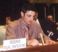 Roustam Semeev, ceceno, interviene alla 54a Sottocommissione delle Nazioni Unite sulla promozione e la protezione dei Diritti dell'Uomo, per conto del
