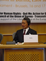 "Conferenza al Parlamento Europeo: ""South-East Asia Democracy Denied Freedoms Suppresses. The situation in Burma, Laos and Vietnam "". Il dr. Sein Win,"