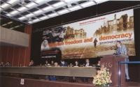 38° Congresso del PR. Visione del banner, della presidenza, e della tribuna (da dove parla Danilo Quinto).