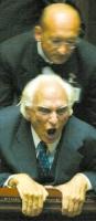 Marco Pannella, nel corso del suo sciopero della sete per il ripristino del plenum costituzionale alla Camera dei Deputati, nel corso di una seduta de