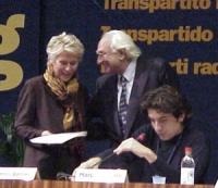 Margherita Boniver (sottosegretario agli Esteri del governo italiano), Marco Pannella, Marco Cappato al 38° Congresso del PR (II sessione).