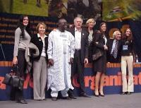 38° Congresso, II sessione. From left to right: Rebeka Dremelj, Miss Slovenia, Elisabetta Zamparutti (Hands off Cain), Abdul Orok, Sergio D'Elia (Hand