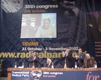 38° Congresso, II sessione. Olivier Dupuis e Umar Khanbiev (ministro ceceno della Salute), in videoconferenza. Alla presidenza: Daniele Capezzone, Mar
