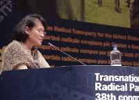 38° Congresso del PR, II sessione. Vanida Thephsouvanh, presidente del Movimento Lao per i diritti umani (ospite del 38° Congresso del PR).