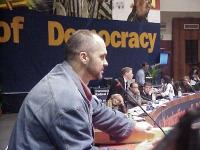 38° Congresso del PR, II sessione. Edi Rama, sindaco di Tirana. (Scorcio della presidenza, con Emma Bonino, Gianfranco Dell'Alba, Marino Busdachin, Ol