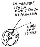 """VIGNETTA """"La migliore Italia oggi si trova in Albania, o a Pisa come sempre"""". Vignetta di Vincino, uscita sul giornale """"Il Foglio"""", in occasione della"""