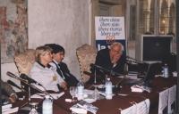 """Giornata anticlericale. Presentazione del libro di Luca Coscioni """"Il Maratoneta"""" presso la Sala della Sacrestia. Da sinistra: Rita Bernardini, Luca Co"""