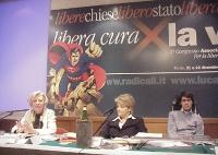 Primo Congresso dell'Associazione Luca Coscioni per la libertà di ricerca scientifica, all'hotel Visconti Palace. Emma Bonino, Rita Bernardini, Luca C