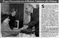 Ritaglio di giornale, con fotografia dello scrittore José Saramago (presidente onorario dell'Associazione Luca Coscioni, per la libertà di ricerca sci