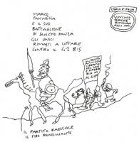 """VIGNETTA """"Marco Pannella e il suo battaglione di Sancho Panza, gli unici rimasti a lottare contro il 41 bis"""". Vignetta di Vincino, apparsa sul giornal"""