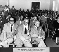 Mario Pannunzio, Ernesto Rossi, Francesco Messineo (????), durante una commemorazione del XX settembre, presso la sede centrale del PR.
