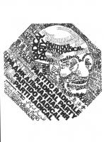 """""""Logo PR raffigurante Ghandi con scritte """"""""partito radicale"""""""" in 21 lingue"""""""