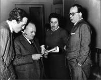 """???, Mario Paggi, Bice (segretaria di redazione de """"Il Mondo""""), Mario Pannunzio."""