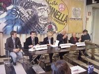 """Conferenza stampa sull'appello di Marco Pannella """"Iraq libero"""". Da sinistra: Benedetto Della Vedova, Daniele Capezzone, Emma Bonino,  Marco Pannella,"""