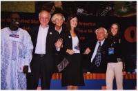 38° Congresso, II sessione. Abdul Orok, Sergio D'Elia (Hands off Cain), Emma Bonino, Sofia Hedmark, Miss Sweden, Marco Pannella, Susanne Zuber, Miss I