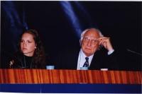 38° Congresso, II sessione. Marco Pannella e Susanne Zuber (Miss Italia).