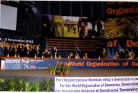 38° Congresso del PR, II sessione. Veduta del tavolo di presidenza. Da sinistra: Maurizio Turco, Daniele Capezzone, Marco Pannella, Pandeli Majko, Ser