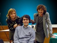 Primo Congresso dell'Associazione Luca Coscioni per la libertà di ricerca scientifica. Foto di gruppo: moglie di Coscioni, Luca Coscioni, Mirella Para