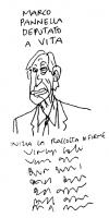 """VIGNETTA """"Marco Pannella deputato a vita. Inizia la raccolta firme"""". La prima firma è di Vincino, autore della vignetta (uscita sul giornale """"Il Fogli"""