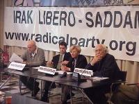 Conferenza stampa, sull'appello per la democrazia in Iraq, presso la sede di Torre Argentina. (Striscione: Iraq libero, Saddam vattene). Da sinistra: