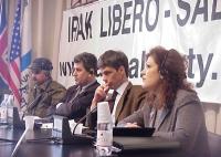 Conferenza stampa presso la sede di Torre Argentina, con rappresentanti dell'opposizione democratica irachena. Da sinistra: Umar Hawez (condannato a m